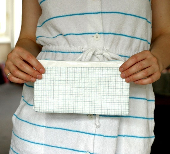 Pencil case - Zippered pouch - Graph Paper Design