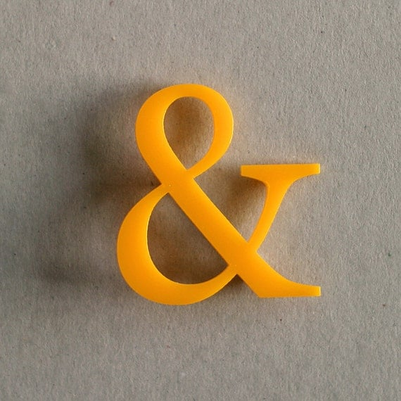 Ampersand Brooch - Yellow