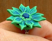 Green and Blue Flower Ring