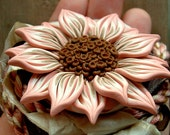 Flower Pendant, Pink and Brown, Hand Sculpted Polymer Clay