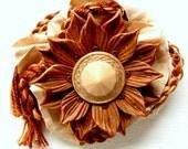 Golden Flower Necklace, hand-sculpted polymer clay