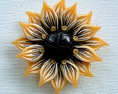 Sunflower Pendant, hand-sculpted polymer clay, Yellow and Brown