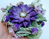 Purple Flower Statement Necklace Hand Sculpted Polymer Clay