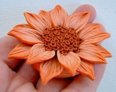 Flower Focal Bead, Hand sculpted polymer clay, Orange and Rusty Brown