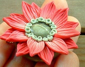 Coral Flower Pendant, hand-sculpted polymer clay, Coral, Olive Green