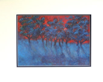 Red Sky Blue Tree Landscape