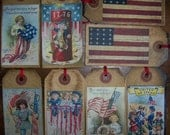 G) pRiM ViNtAgE AMERICANA Memorial Day 4th of July PoStCaRd iMaGeS Hang Tags