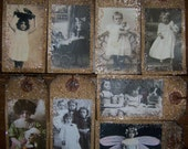 K) pRiM ViNtAgE Little Girls w/Dolls or Kitty Glass Glittered Hang Tags