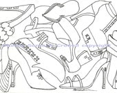 ShoeHouse Frenzy Watercolor Print, Colorbook Page, 5 x 7