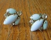 Designer Signed WEISS Rhinestone Light Blue Milk Glass Screw Back Earrings.