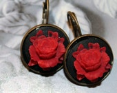 Red & Black Rose Drop Earrings