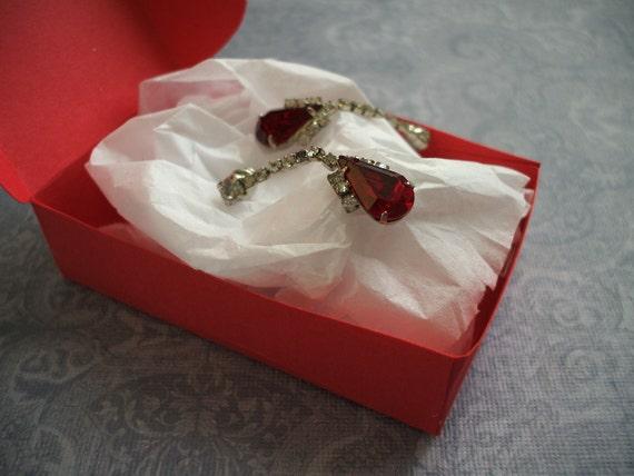 Vintage red chandelier rhinestone earrings