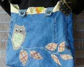 Recycled Blue Jeans Owl on a Branch Tote Bag