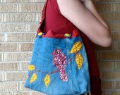 Recycled Tote Bag Oxblood Bird Upcycled Fabric Scraps