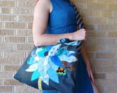 SALE Upcycled Tote or Market Bag Sea Blue Tree