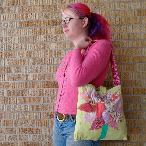 Upcycled Tote or Market Bag Spring Pink Tree Recycled Purse