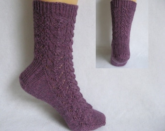 PDF Sock Pattern, Fish N Chips Sock Pattern, lace and cable sock design