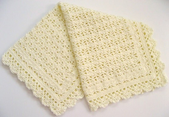 Items Similar To Crocheted Baby Afghan Heirloom Lace