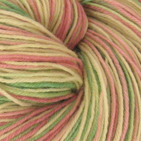 Hand dyed Superwash Sock Yarn RASPBERRY ROSE, Wool\/Nylon 100 grams, 420 yards, FREE PATTERN with purchase