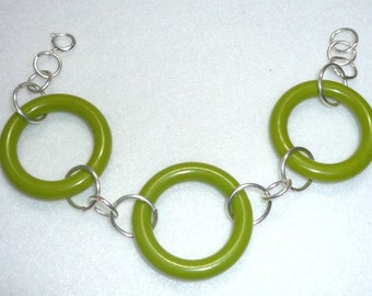 Upcycled green bracelet