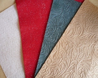 Embossed felt and glitter felt fabric sheets 20 pieces recycled