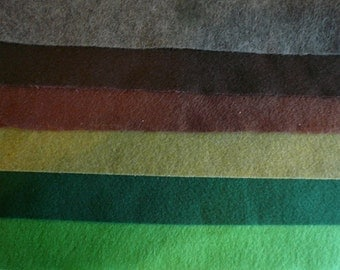 Forest collection Felt fabric sheets 18 pieces recycled