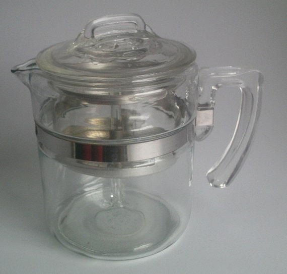 Vintage PYREX FLAMEWARE Glass Percolator Coffee Pot