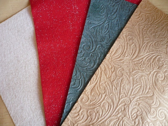Embossed Felt And Glitter Felt Fabric Sheets 20 Pieces By