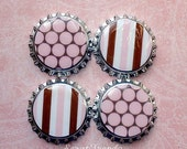 Pink and Brown Bottle Cap Magnets Set of 4