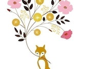 "Original Illustration Print of a Fox titled ""These Are For You"""