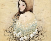 """Giclee limited edition print of an original gouache painting on wood titled """" While You Were Dreaming"""""""