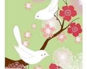 White Love Birds (green)