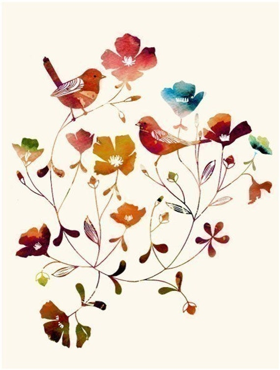 """Watercolor Illustration of two love birds titled """"Little Sparrows (rainbow edition)"""""""