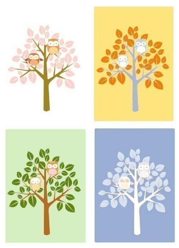 Owl Tree - The Four Seasons Complete Set (5x7 prints)
