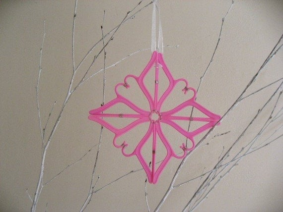 ON RESERVE FOR THESTITCHWOODS - Snowflake Barbie Hanger Ornament - Pink