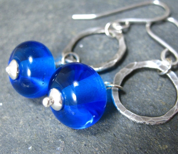 Life Aquatic Earrings - Blue Lampwork Glass Beads, Fine Silver Hoops and Sterling Silver