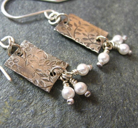 Shoots and Leaves Earrings - Textured Sterling Silver and Freshwater Pearls