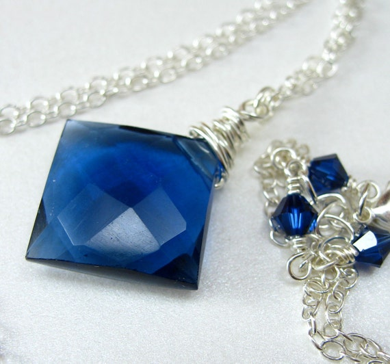 Lalia Necklace - Faceted Kyanite Blue Quartz with Sterling Silver