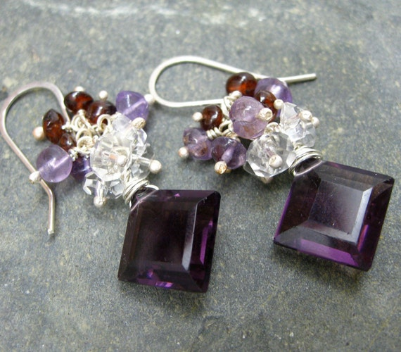 Louis Earrings Faceted Purple Quartz with Sterling Silver, Amethysts, Garnets and Clear Quartz