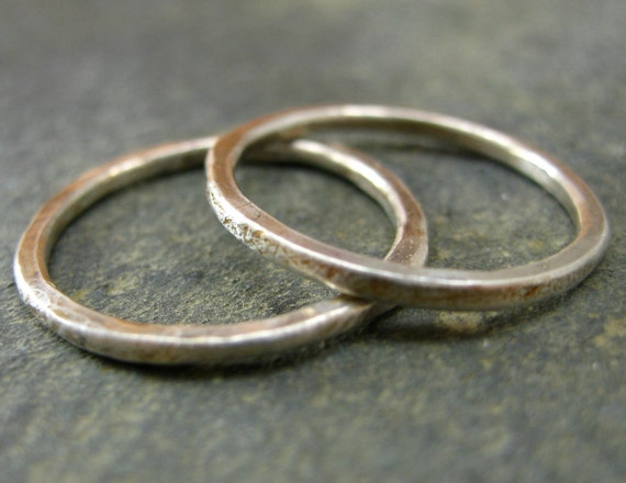 Duo of Fine Silver Stacking Rings - Hammered Texture