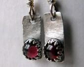 Rustic Sterling Silver and Garnet Earrings