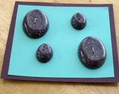 Purple Teal Silver Oval Resin Buttons