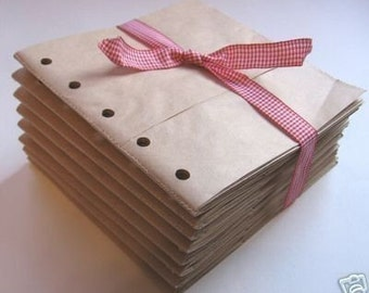 8x8 SEWN paper bag scrapbook albums- 8 BROWN books