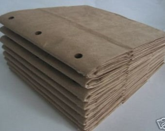 6X6 SEWN paper bag scrapbook albums 8 BROWN books 3 holes