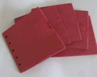 5 RED sewn paper bag scrapbook albums