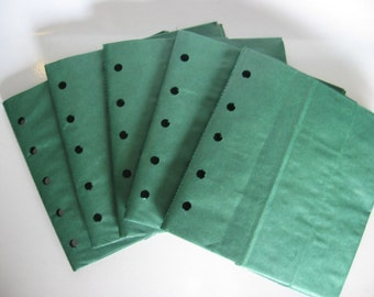 5 HUNTER GREEN sewn paper bag scrapbook albums