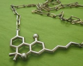 THC molecule necklace styled for men (or women) in solid sterling silver