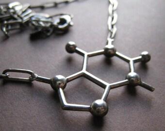 caffeine molecule necklace - oxidized silver