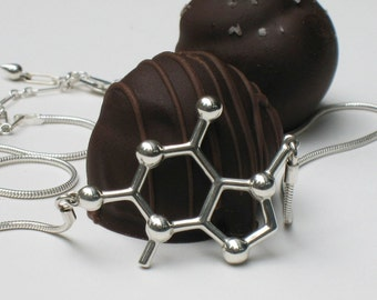 chocolate - theobromine molecule - necklace in solid sterling silver