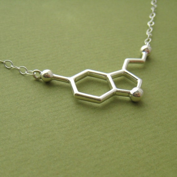 serotonin necklace - for happiness - with link chain